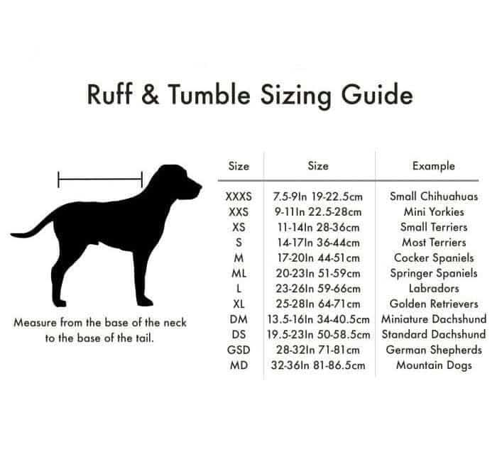 Ruff and Tumble Sizing Guide
